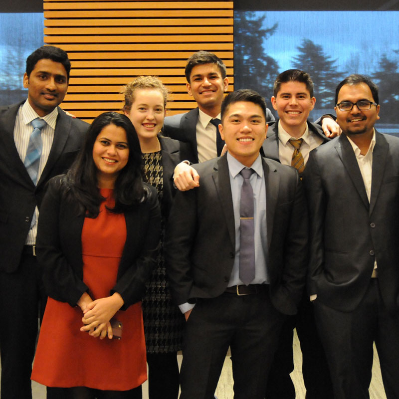 Teams that won 1st, 2nd, and 3rd place prizes in the Master of Science in Information Systems case competition