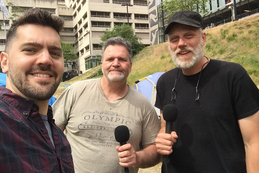 Jeff Shulman with Stu Tanquist and Mike Gibbons, Tent City 7