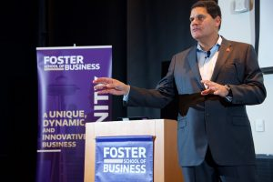 Reggie Fils-Aimé, President and COO of Nintendo of America, presents at the Foster School