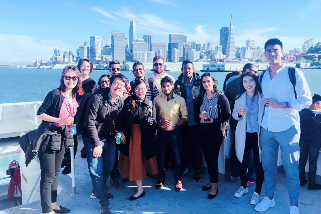 autodesk employees on a boat ride