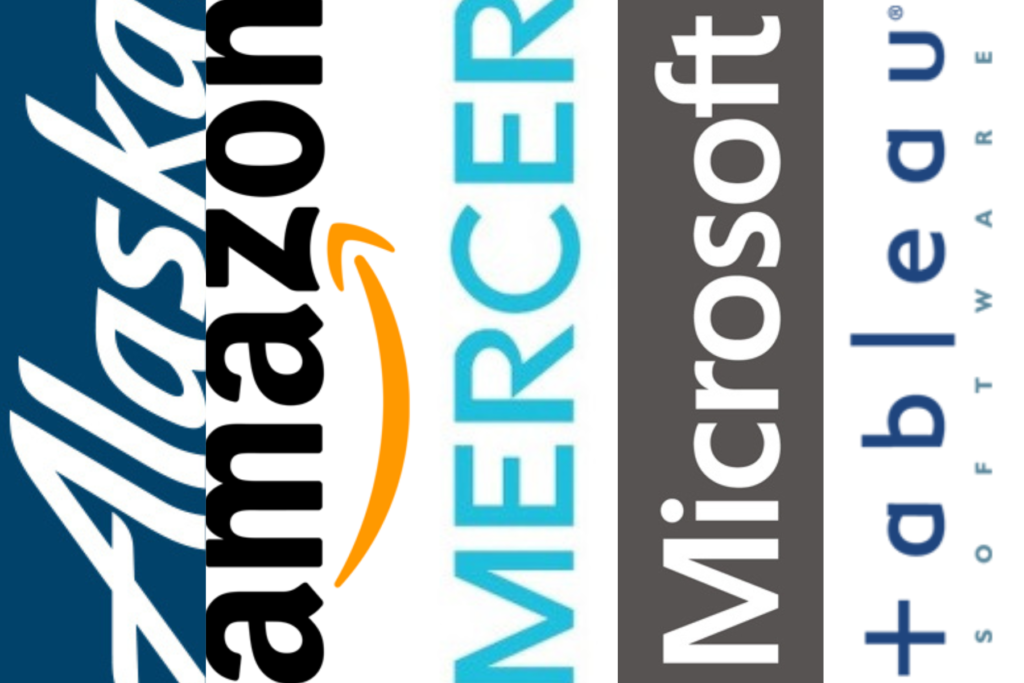 Logo graphic of Alaska Airlines, Amazon, Mercer, Microsoft and Tableau.
